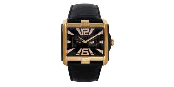 Pánské hranaté zlaté hodinky s kalendářem Cerruti 1881