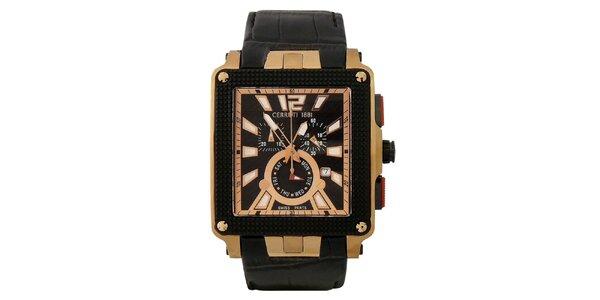 Pánské multifunkční černo-zlaté hodinky Cerruti 1881