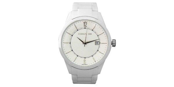 Dámské bílé keramické hodinky s datumovkou Cerutti 1881