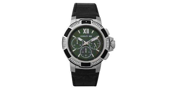 Dámské ocelové hodinky se zeleným ciferníkem Cerutti 1881