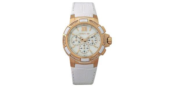 Dámské bílé hodinky se zlatými detaily Cerutti 1881