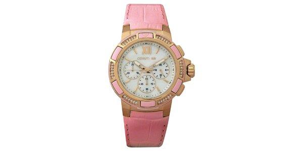 Dámské růžové hodinky se zlatými detaily Cerutti 1881