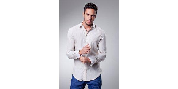 Pánská béžová košile Dolce & Gabbana s proužkem