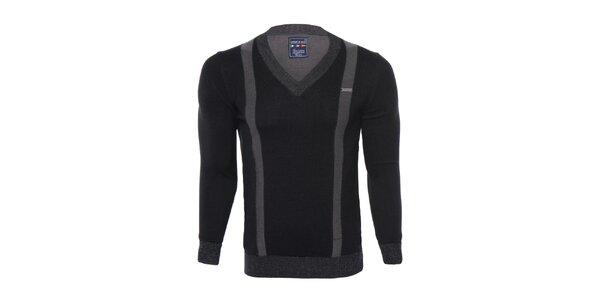 Pánský černý svetr s šedými pruhy Giorgio di Mare