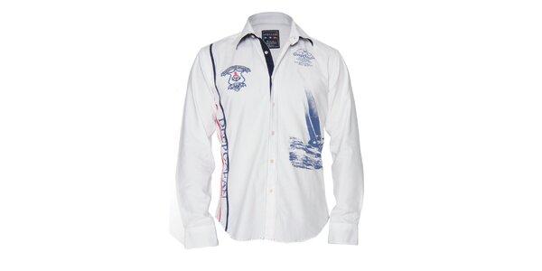 Pánská bílá košile s nášivkami na hrudi a potiskem Giorgio di Mare