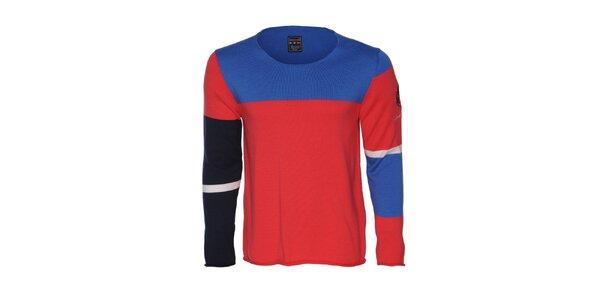 Pánský červeno- modrý svetr Giorgio di Mare