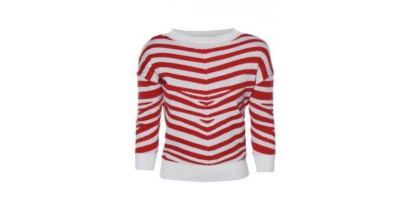 Dámský červeno-bílý svetr s proužkem Giorgio di Mare