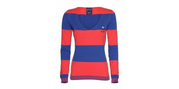 Dámské modro-červené pruhované tričko Giorgio di Mare