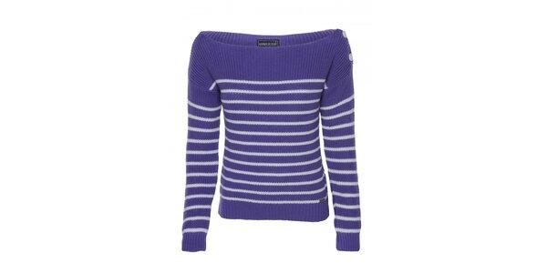 Dámský fialovo-bílý pruhovaný pulovr Giorgio di Mare