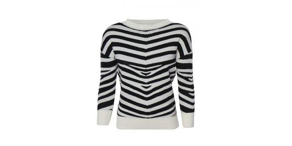 Dámský černo-bílý svetr s proužkem Giorgio di Mare