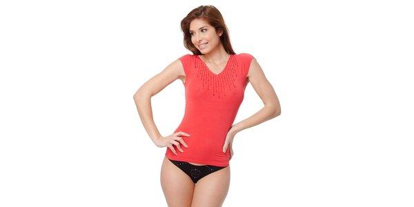 Dámské červené tričko Guess by Marciano s kamínky