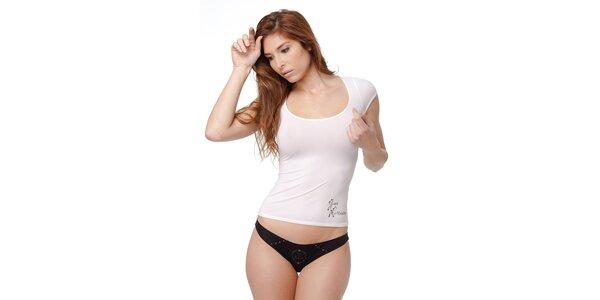 Dámské bílé tričko Guess by Marciano s kamínky