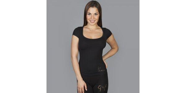 Dámské černé tričko Guess by Marciano s kamínky