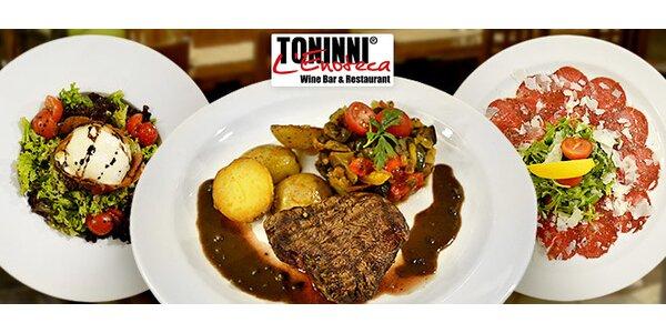 Cokoli z jídelního lístku restaurace Toninni v hodnotě 1000 Kč