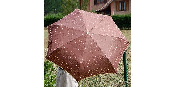 Dámský hnědý puntíkatý deštník Alvarez Romanelli