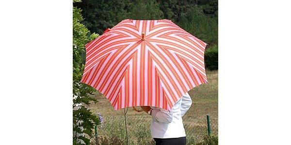 Dámský pruhovaný oranžovo-růžový deštník Alvarez Romanelli