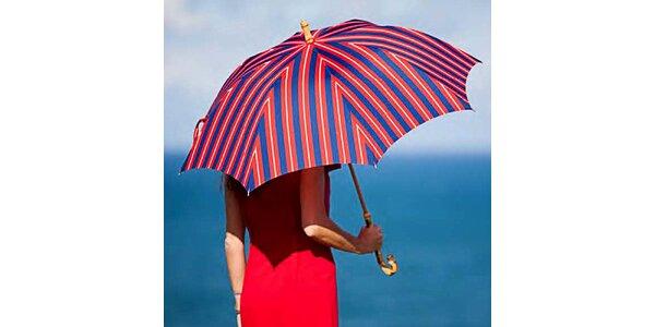 Dámský pruhovaný červeno-modrý deštník Alvarez Romanelli