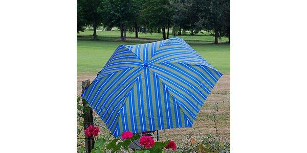 Dámský pruhovaný zeleno-modrý deštník Alvarez Romanelli