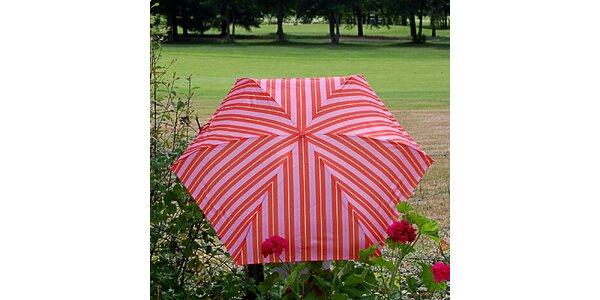 Dámský pruhovaný růžovo-oranžový deštník Alvarez Romanelli