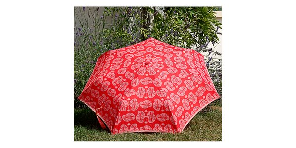 Dámský červený deštník Alvarez Romanelli s bílým vzorkem