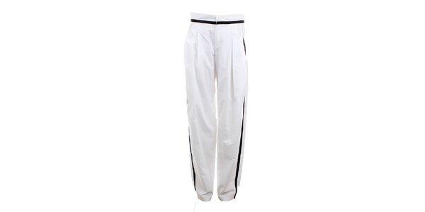 Dámské bílé kalhoty s černým proužkem Max Mara