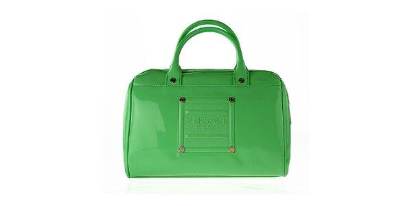 Dámská oblá lakovaná zelená kabelka Versace Jeans