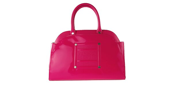 Dámská neonově růžová lakovaná kabelka Versace Jeans