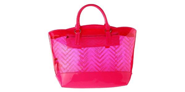 Dámská růžová transparentní kabelka Versace Jeans