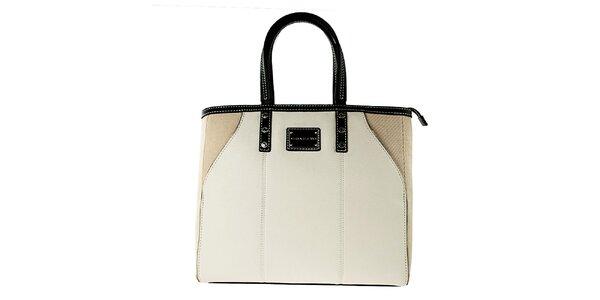 Dámská bílo-béžová kabelka s černými lemy Versace Jeans
