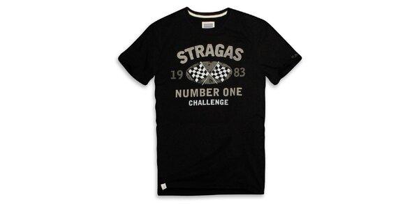 Pánské černé triko s šedým potiskem Paul Stragas