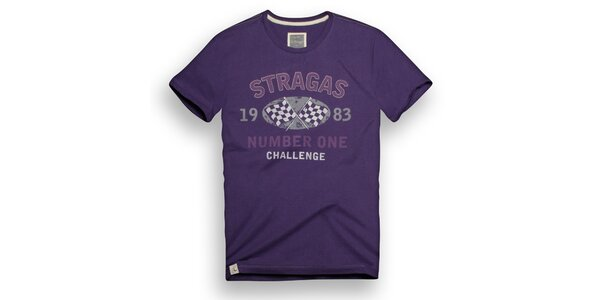 Pánské fialové triko s potiskem Paul Stragas