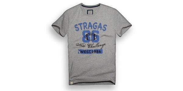 Pánské šedé triko s modrým potiskem Paul Stragas