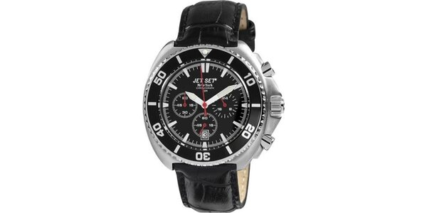 Černé hodinky s koženým řemínkem Jet Set