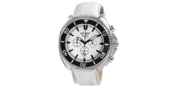 Bílé kulaté hodinky s koženým řemínkem Jet Set