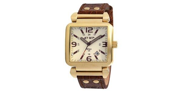 Zlaté hranaté hodinky s bílým ciferníkem Jet Set