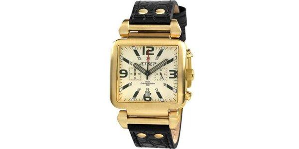 Zlaté hranaté hodinky s černým koženým řemínkem Jet Set