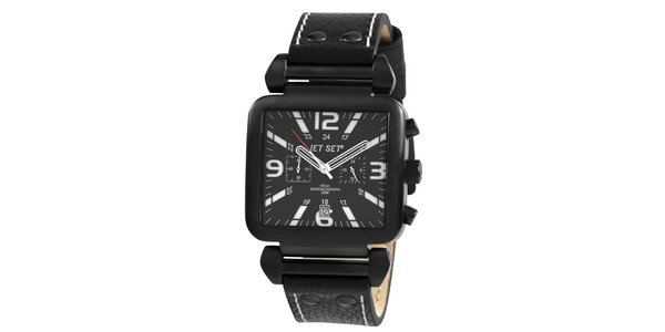Černé hranaté hodinky s červenou vteřinovkou Jet Set