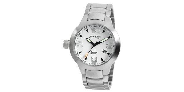 Stříbrné analogové hodinky Jet Set s oranžovou vteřinovkou