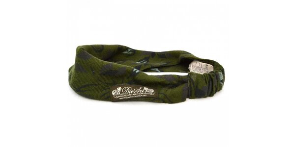 Dámská tmavě zelená pletená čelenka Diesel s potiskem