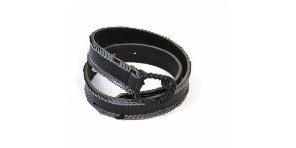Dětský tmavě hnědý pásek Diesel s flitry