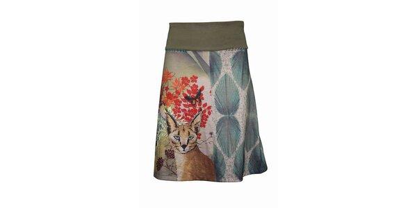 Dámská šedá sukně Smash s divokou kočkou
