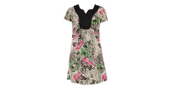 Dámské černo-bílé šaty Smash s motýly