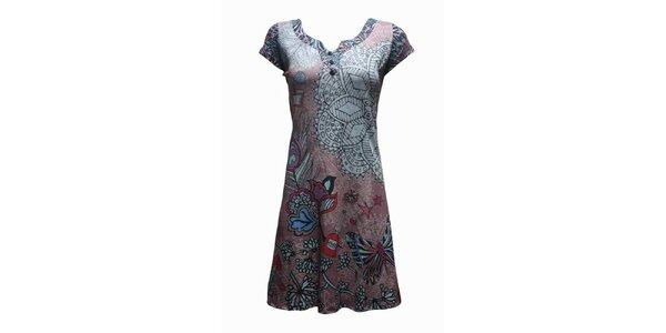 Dámské šedo-hnědé šaty Smash s ornamentálním vzorem