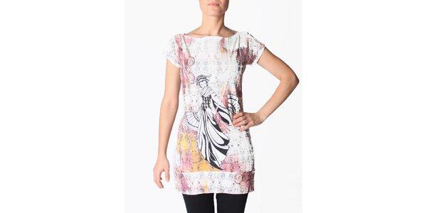 Dámské bílo-růžové tunikové šaty s gejšou Smash