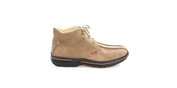 Pánské béžové semišové kotníkové boty Levis