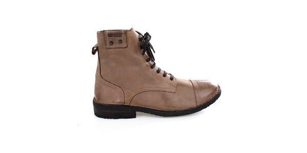 Pánské vysoké světle hnědé boty Levis