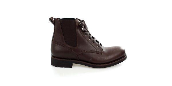 Pánské hnědé kožené kotníkové boty Levis