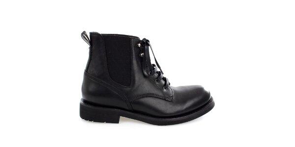 Pánské černé kožené kotníkové boty Levis