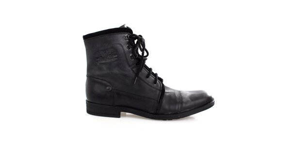 Pánské černé kožené šněrovací boty Levis e2bc881721