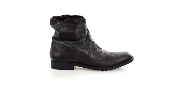 Pánské vyšší kožené boty s vintage povrchem Levis